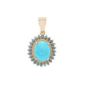 Sleeping Beauty Turquoise & Marambaia London Blue Topaz 9K Gold Pendant ATGW 2.71cts