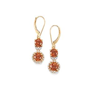 Zanzibar Sunburst Zircon Earrings with Diamond in 18K Gold 5.35cts
