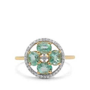 Malysheva Siberian Emerald Ring with White Zircon in 9K Gold 1.49cts