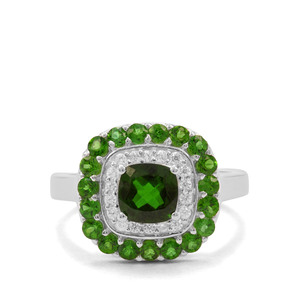 Chrome Diopside & White Zircon Sterling Silver Ring ATGW 2.29cts