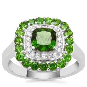 Chrome Diopside Ring with White Zircon in Sterling Silver 2.29cts