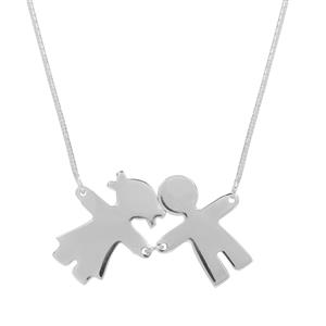 "18"" Sterling Silver Altro Boy & Girl Charm Necklace 4.85g"