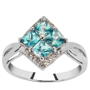 Ratanakiri Blue Zircon Ring with White Zircon in Sterling Silver 2.08cts