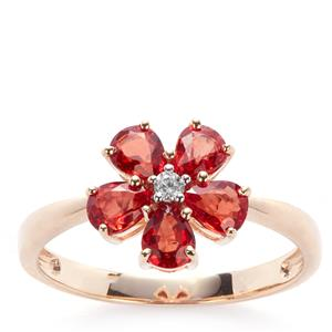 Winza Ruby Ring with White Zircon in 9K Gold 1.39cts
