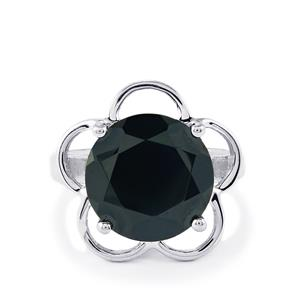 Black Spinel Ring in Sterling Silver 10.21cts