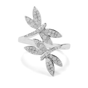 1/2ct Diamond Sterling Silver Dragon Fly Ring