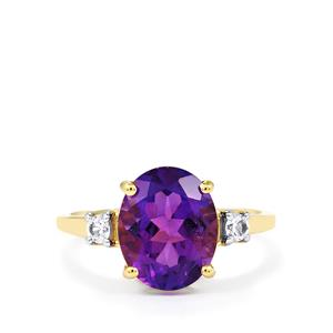 Zambian Amethyst Ring with White Zircon in 10k Gold 3.28cts