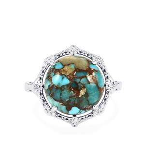 Egyptian Turquoise Ring with White Topaz in Sterling Silver 6.44cts