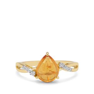 Mandarin Garnet & White Zircon 9K Gold Ring ATGW ATGW 2.50cts