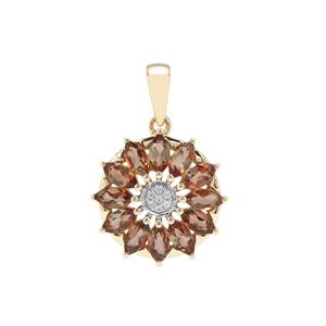 Sopa Andalusite Pendant with White Zircon in 9K Gold 1.71cts