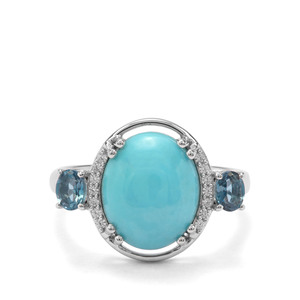 Sleeping Beauty Turquoise, Marambaia London Blue Topaz & White Zircon Sterling Silver Ring ATGW 4.30cts