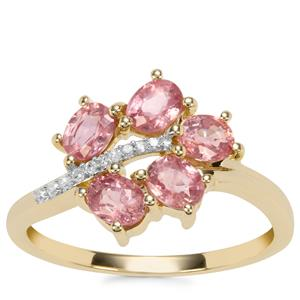 Padparadscha Sapphire Ring with Diamond in 9K Gold 1.67cts