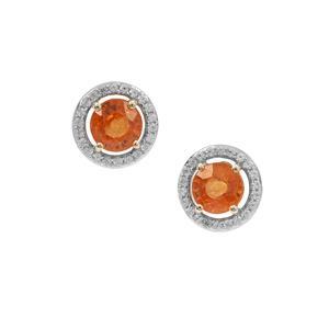 Mandarin Garnet Earrings with White Zircon in 9K Gold 2.35cts