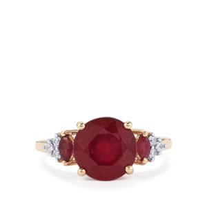 Malagasy Ruby Ring with White Zircon in 10k Gold 4.72cts (F)