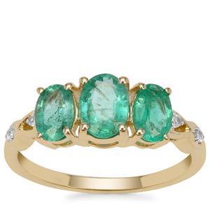 Malysheva Emerald Ring with White Zircon in 9K Gold 1.75cts
