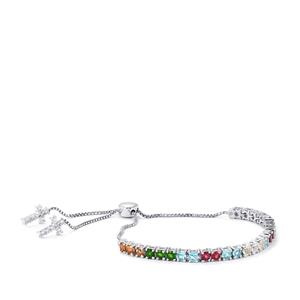 5.77ct Kaleidoscope Gemstones Sterling Silver Slider Bracelet