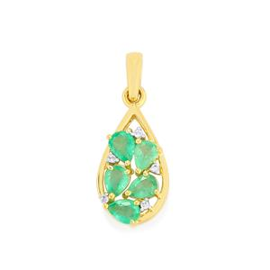Zambian Emerald Pendant with White Zircon in 10k Gold 0.72cts