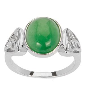 Green Jade Ring in Sterling Silver 4.24cts