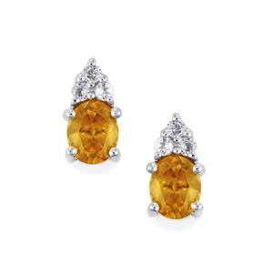 Ambilobe Sphene & White Topaz Sterling Silver Earrings ATGW 0.84cts