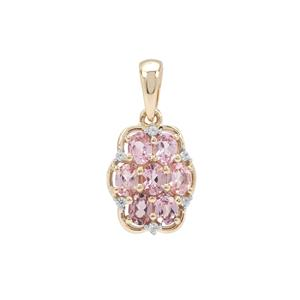 Mahenge Purple Spinel & White Zircon 9K Gold Pendant ATGW 1.40cts