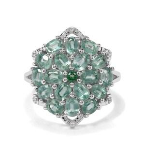 Odisha Kyanite, Green Topaz & White Zircon Sterling Silver Ring ATGW 4.31cts