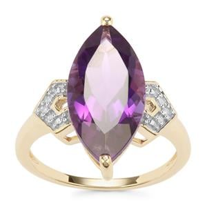 Zambian Amethyst Ring with Diamond in 10K Gold 5.24cts