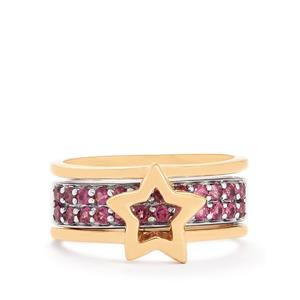 0.83ct Rajasthan Garnet Two Tone Midas Set of 2 Stacker Rings