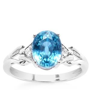 3.40ct Ratanakiri Blue & White Zircon 9K White Gold Ring