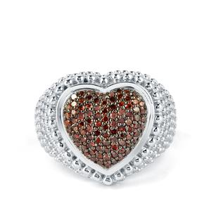 Red Diamond Ring  in Sterling Silver 1/2ct