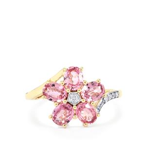 Sakaraha Pink Sapphire Ring with Diamond in 10K Gold 2.10cts