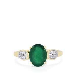 Minas Gerais Emerald Ring with White Sapphire in 9K Gold 1.70cts