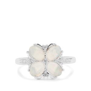 Kelayi Opal Ring with White Zircon in Sterling Silver 1.35cts