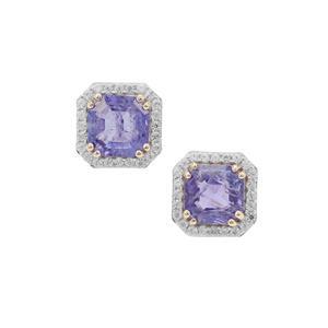 Asscher Cut Tanzanite & White Zircon 9K Gold Earrings ATGW 2.80cts