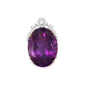 Zambian Amethyst Pendant with Diamond in 18k Gold 16.69cts
