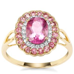 Natural Pink Fluorite, Kaffe Tourmaline Ring with White Zircon in 9K Gold 2cts