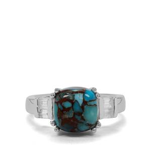 Egyptian Turquoise & White Zircon Sterling Silver Ring ATGW 3.79cts