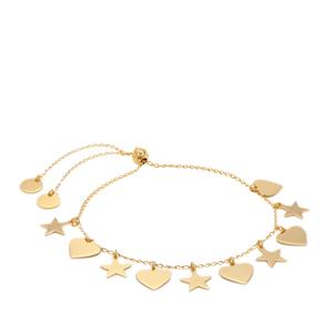 "10"" Midas Altro Diamond Cut Star-Heart Slider Bracelet 3.65g"
