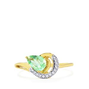 Paraiba Tourmaline Ring with White Zircon in 10k Gold 0.68ct