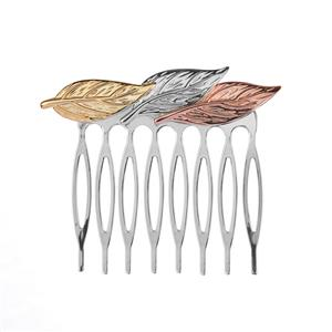 Leaf Hair Comb in Three Tone Sterling Silver