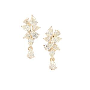 Yellow Diamond Earrings in 18K Gold 1ct