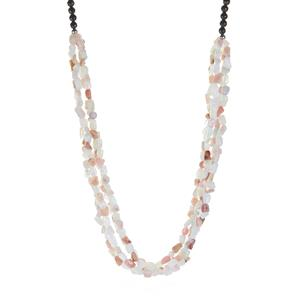 Pink Opal Necklace with White Opal, Black Agate in Sterling Silver 341.90cts