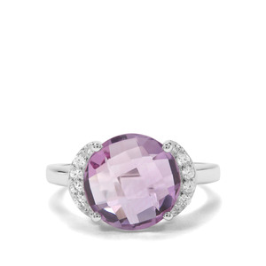 Rose De France Amethyst & White Zircon Sterling Silver Ring ATGW 5.12cts