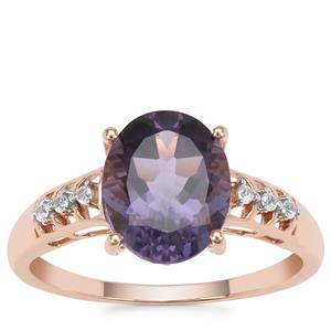 Montezuma Blue Quartz Ring with White Zircon in 9K Rose Gold 2.40cts