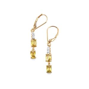 Ambilobe Sphene Earrings with Diamond in 18K Gold 2.25cts