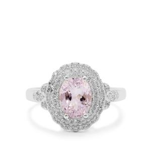 Minas Gerais Kunzite Ring with White Zircon in Sterling Silver 3.10cts