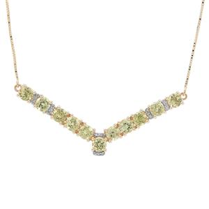 Mali Garnet Necklace with Diamond in 9K Gold 4.75cts