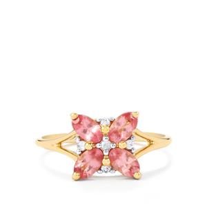 Mozambique Pink Spinel Ring with Ceylon White Sapphire in 10K Gold 1.08cts