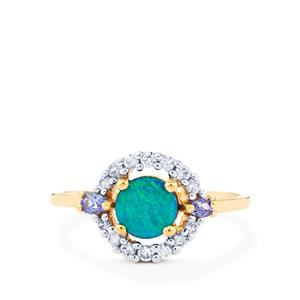 Crystal Opal on Ironstone, Tanzanite & White Zircon 10K Gold Ring