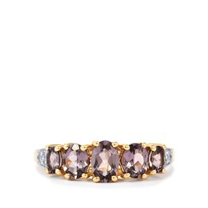 Mahenge Purple Spinel Ring with White Zircon in 9K Gold 1.58cts