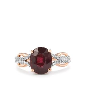 Malawi Garnet Ring with Diamond in 18K Rose Gold 3.68cts